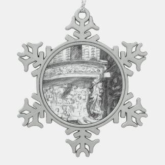 Castle Snowflake Pewter Christmas Ornament