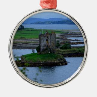 Castle Stalker in Scotland Round Metal Christmas Ornament