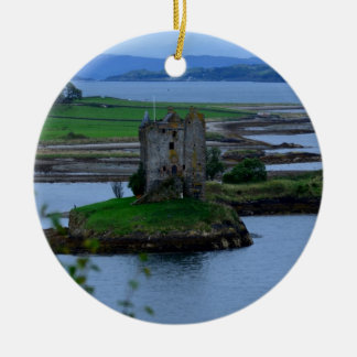 Castle Stalker in Scotland Double-Sided Ceramic Round Christmas Ornament