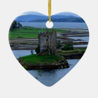 Castle Stalker in Scotland Double-Sided Heart Ceramic Christmas Ornament