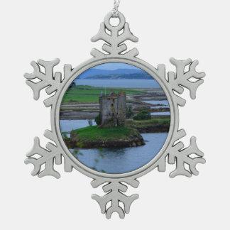 Castle Stalker in Scotland Snowflake Pewter Christmas Ornament