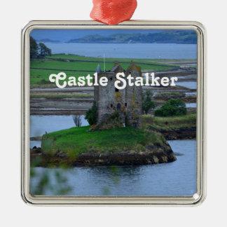 Castle Stalker Square Metal Christmas Ornament