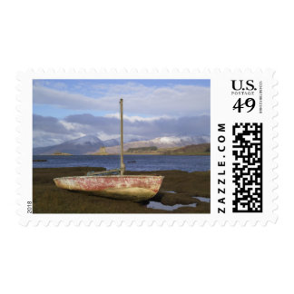 Castle Stalker with fishing boat in the Postage Stamp