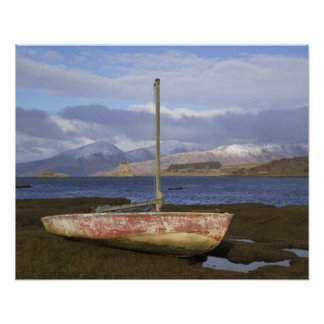 Castle Stalker with fishing boat in the Poster