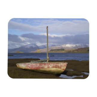 Castle Stalker with fishing boat in the Rectangle Magnets