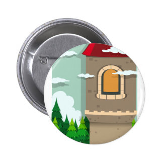 Castle tower and pine trees pinback button