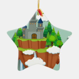 Castle towers on the island ceramic ornament