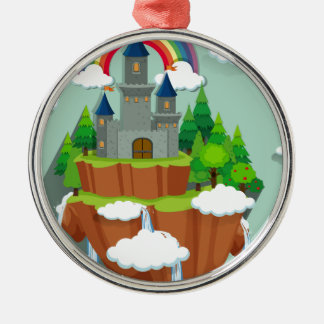 Castle towers on the island metal ornament