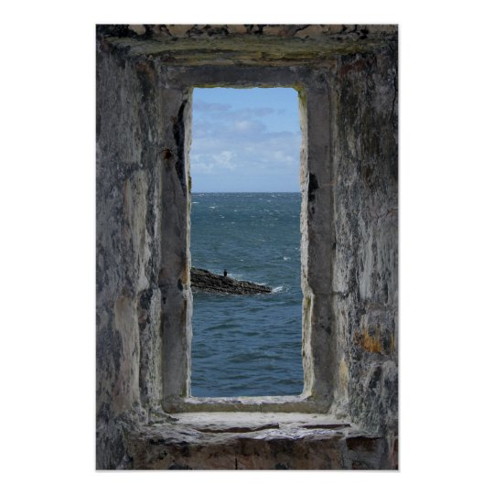 Castle Window with an Ocean View Poster