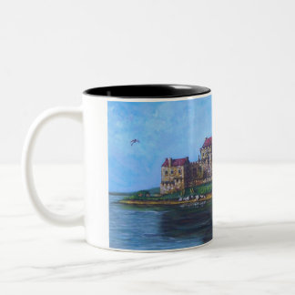 Castle with dragon and wizard Two-Tone coffee mug