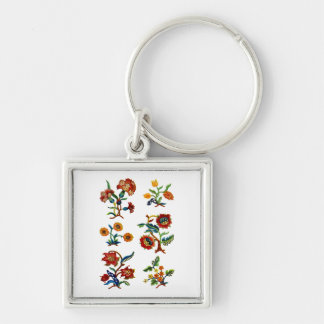 Castlemane Jacobean Embroidery Silver-Colored Square Keychain