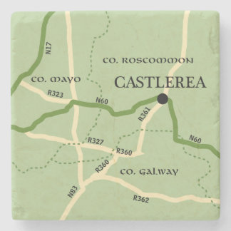 Castlerea County Roscommon Ireland Road Map Stone Coaster