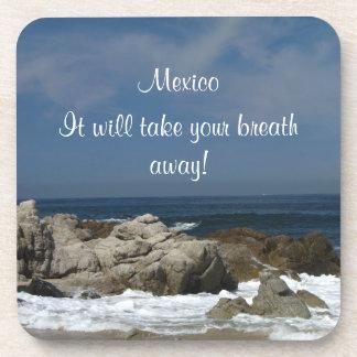 Castles in the Sand; Mexico Souvenir Beverage Coaster