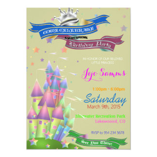 "Castles Kids Birthday Party Invitation 5.5"" X 7.5"" Invitation Card"