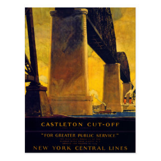 Castleton cut off New York Vintage Poster Postcard