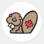 Castor canadiense etiquetas redondas