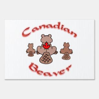 Castor canadiense letreros