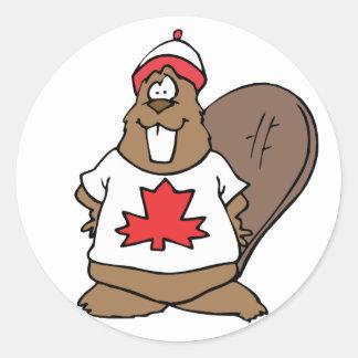 Castor canadiense lindo pegatina redonda