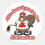 Castor canadiense pegatina redonda