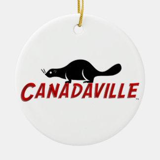 Castor de Canadaville Adorno Navideño Redondo De Cerámica