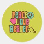 Castor del amor de la paz pegatina redonda