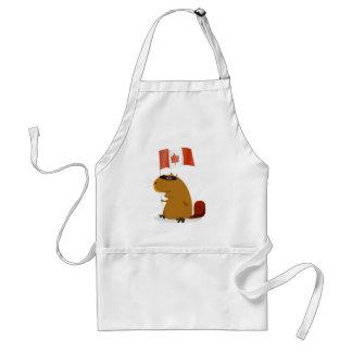 Castor del día de Canadá Delantal