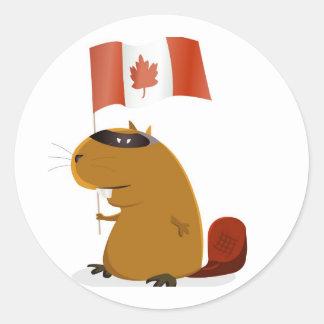 Castor del día de Canadá Etiqueta Redonda