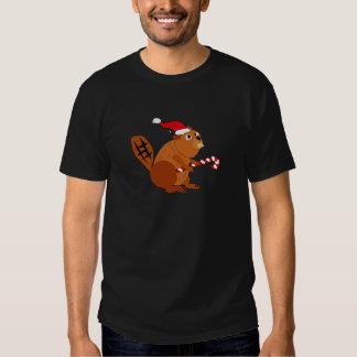 Castor divertido en arte del navidad del gorra de playera