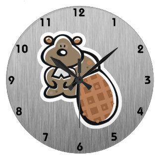 Castor lindo; Metal-mirada Reloj Redondo Grande