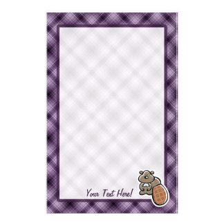 Castor lindo; Púrpura Papeleria De Diseño