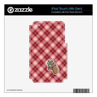 Castor lindo; Tela escocesa roja iPod Touch 4G Skin