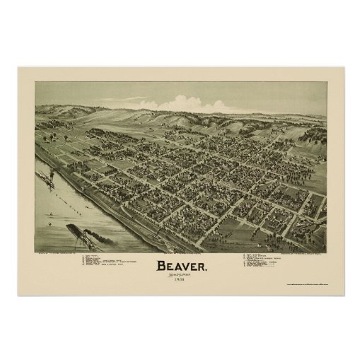 Castor, mapa panorámico del PA - 1900 Impresiones