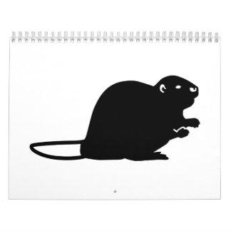 Castor negro calendario de pared