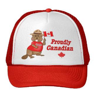 Castor orgulloso canadiense gorros