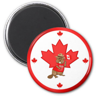 Castor orgulloso canadiense imán redondo 5 cm