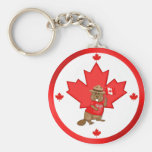 Castor orgulloso canadiense llavero