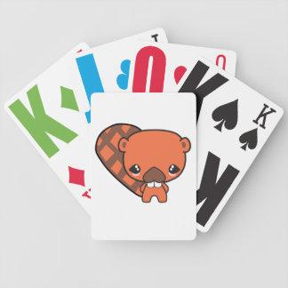 castor tonto lindo del kawaii barajas de cartas