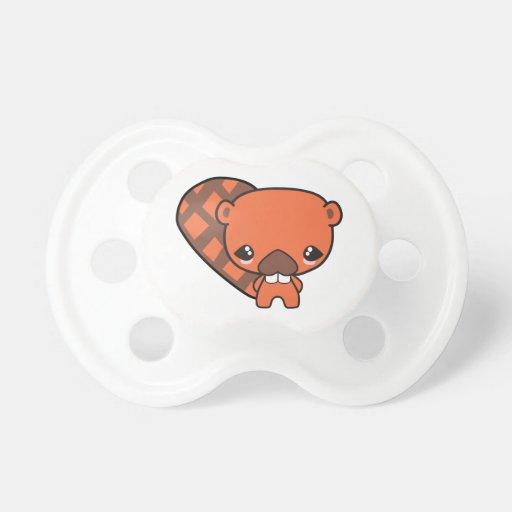 castor tonto lindo del kawaii chupete de bebe