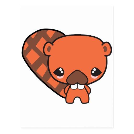 castor tonto lindo del kawaii postales