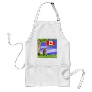 Castor y bandera canadienses delantal