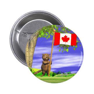 Castor y bandera canadienses pin redondo de 2 pulgadas