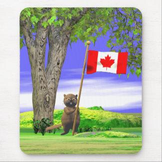 Castor y bandera canadienses alfombrilla de ratón