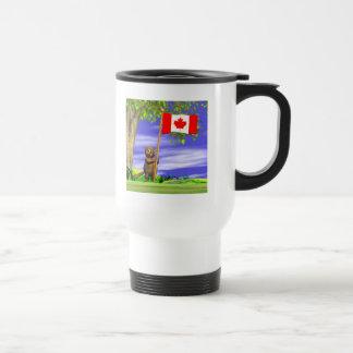 Castor y bandera canadienses tazas