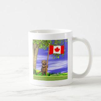 Castor y bandera canadienses tazas de café