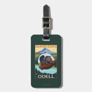 Castor y capilla del Mt. - Odell, Oregon Etiquetas Para Maletas