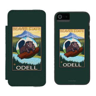 Castor y capilla del Mt. - Odell, Oregon Funda Billetera Para iPhone 5 Watson