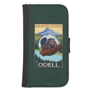 Castor y capilla del Mt. - Odell, Oregon Funda Billetera Para Teléfono