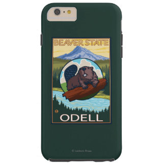 Castor y capilla del Mt. - Odell, Oregon Funda De iPhone 6 Plus Tough