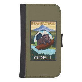 Castor y capilla del Mt. - Odell, Oregon Funda Tipo Billetera Para Galaxy S4