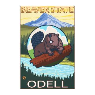 Castor y capilla del Mt. - Odell, Oregon Impresión De Lienzo